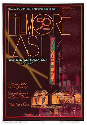 Fillmore East 50th Anniversary Poster Concert S/N Edition of 100 David Byrd