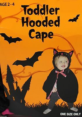 Black Cat Toddler Costume (Halloween Toddler Black Cat Hooded Cape Costume Ages 2-4)