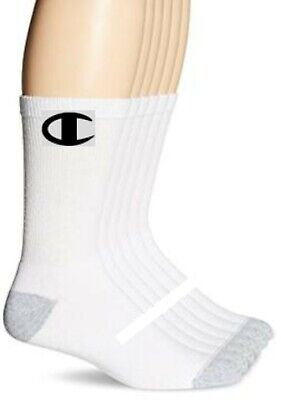 CHAMPION Brand crew socks WHITE 6-PACK