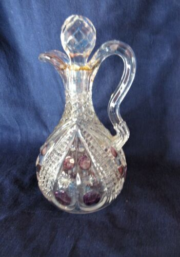"Antique Glass Vinegar Cruet w Stopper Very Pale Purple Highlights 7"" tall"