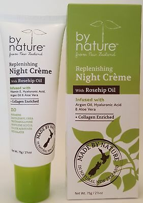 By Nature Replenishing Night Cream w/Rosehip Oil Collagen Enriched! 2.5 Oz. NIB
