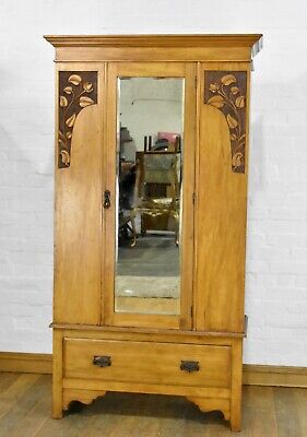 Antique carved satinwood mirror door wardrobe - hall coat cupboard