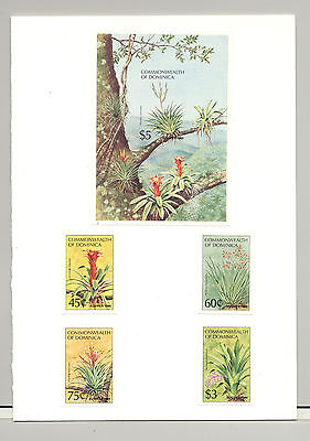 Dominica #847-851 Ausipex 84, Succulents, Trees 4v & 1v S/S Imperf Proofs Folder