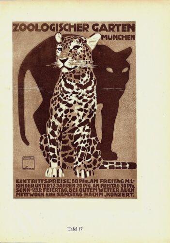 Original vintage ad print ZOO MUNICH LEOPARD PANTHER 1926 Hohlwein