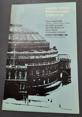 Henry Wood Promenade Concert programme Sept 1960 Ivana Tosini Raffaele Arie