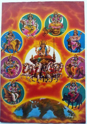 Hindu Religious Old Unique Vintage Paper Laminated Poster Nav Graha Grihas 12X17