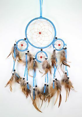 Blue Handmade Dream Catcher With Feathers Wall Hanging Decoration Ornament Gift