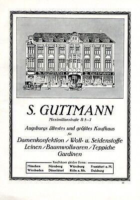 Kaufhaus Guttmann Augsburg XL Reklame 1922 Werbung Maximilianstrasse +