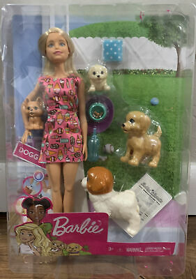 Barbie Doggy Daycare Doll, Blonde Hair with 2 Dogs & 2 Puppies (read)