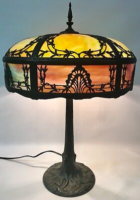 ANTIQUE 1903 CHICAGO LAMP Co TREE TRUNK BASE w/ CURVED SLAG GLASS SHADE FILIGREE