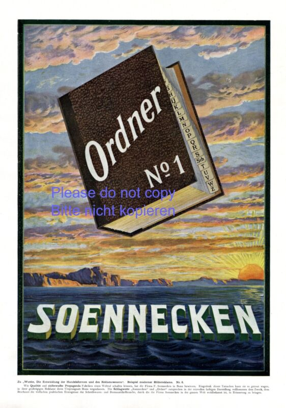 Soennecken folder XL german ad 1909 !! advertising fountain pen sunrise sunset