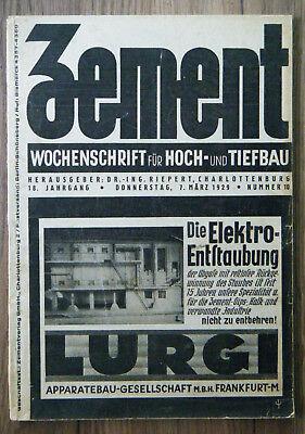 Zement Wochenschrift für Hoch- und Tiefbau Nr. 10 / 1929 viel alte Reklame  rar