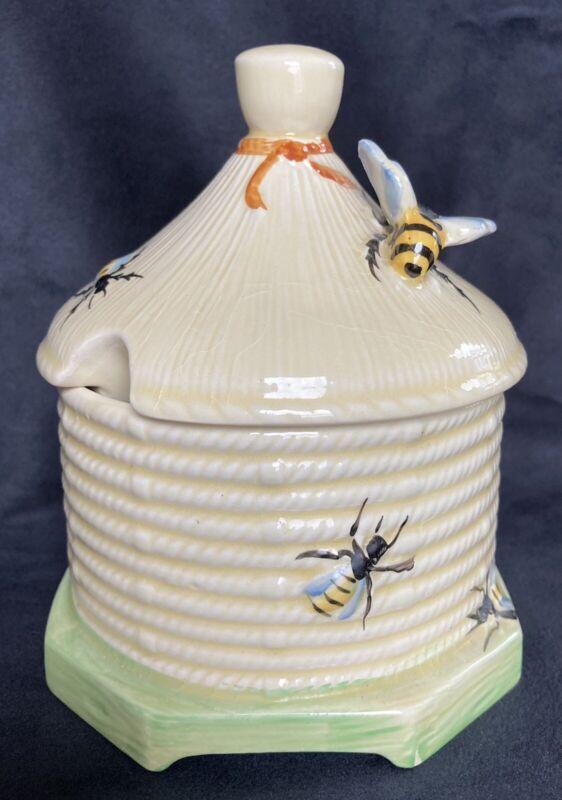 Crown Devon Honey Pot Bee Sugar Bowl BeeHive Vintage England