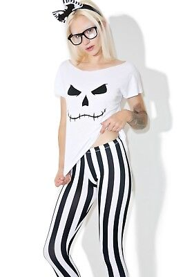 LEG AVENUE HIPSTER SKELETON BLACK WHITE STRIPE LEGGINGS DOLLS KILL COSTUME - Black And White Doll Halloween Costume