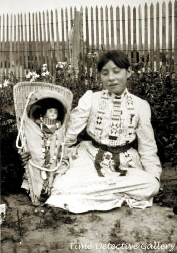 Paiute Indian Girl with Her Doll - Historic Photo Print