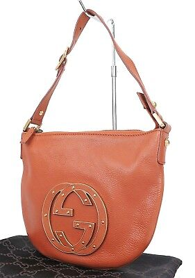 Authentic GUCCI Blondie Brown Leather Hand Shoulder Bag Purse #25503