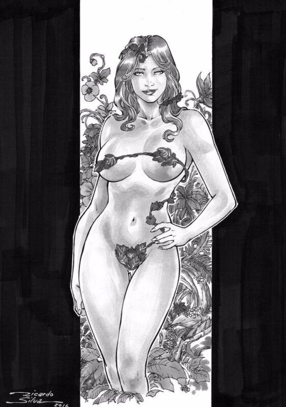 Poison Ivy by Ricardo Silva - Original Comic Art Drawing Batman DC 8.5x11
