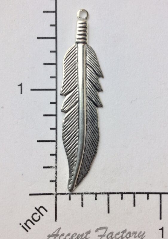 39254         3 Pc. Matte Silver Oxidized Large Feather Charm Jewelry Finding