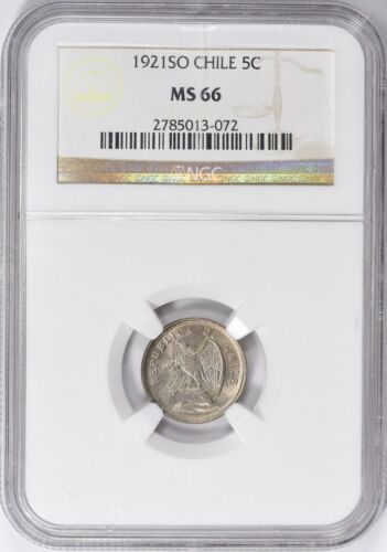 Chile 1921-SO 5 Centavos - NGC MS66 - KM-165 - Highest Graded by NGC