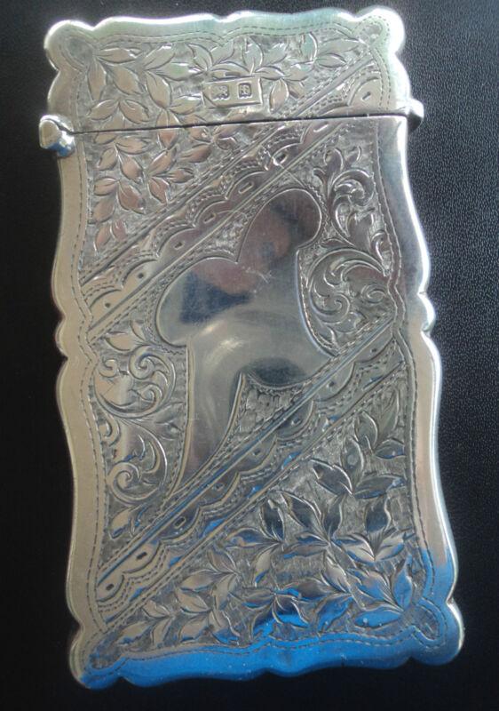 Attractive Sterling Silver Art Nouveau Card Case  Birmingham 1905 C.E. Williams