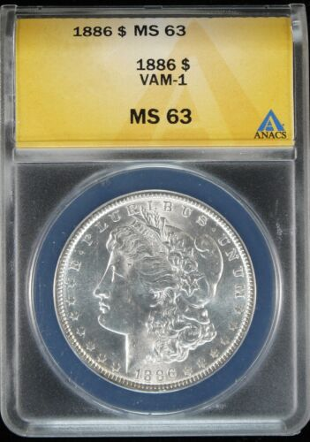 1886 Philly VAM-1 Bright White Morgan Silver Dollar ANACS MS63