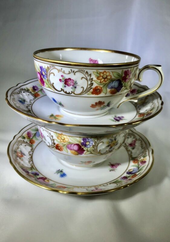 Two Empress Dresden Flowers Tea Cups And Saucers