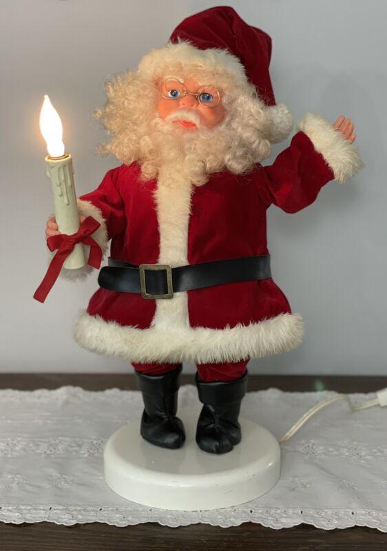 "Vintage Rennoc Original Animated Santa Claus Christmas Lighted Candle 20"" Tall"