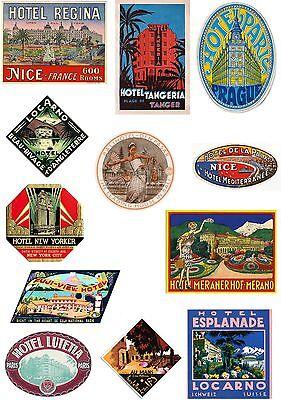 Stile Vintage Valigia Bagaglio Da Viaggio Etichette Set Of 12 adesivi in vinile