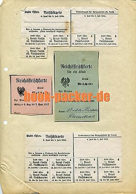 Lebensmittelkarten Stadt Essen/Meschede 1916  [WW I food ration card]