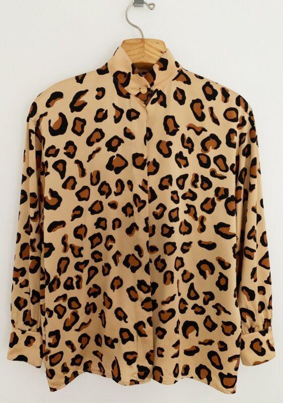 Vintage ST JOHN Women Silk Top Blouse 8 Leopard Print Button Front Long Sleeve