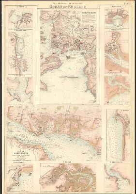 1874 ca LARGE ANTIQUE MAP- G H SWANSTON - PLYMOUTH SOUND,PORTSMOUTH,POOLE,DARTMO