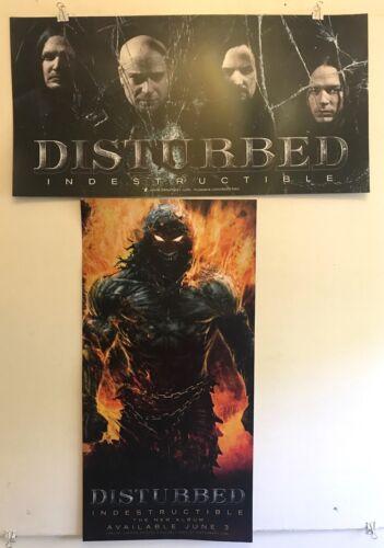 "DISTURBED Indestructible PROMO 2-Poster Set 12""x24"" EXCELLENT CONDITION"