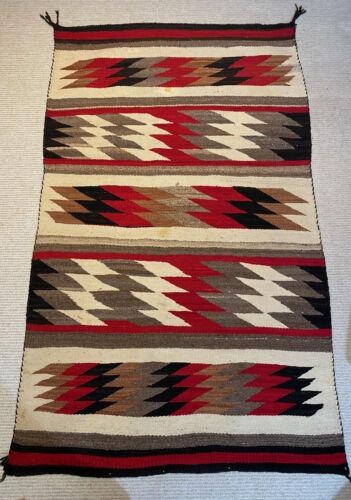 Mid 20th C. Navajo GANADO Weaving Rug 3 x 5 Vintage Eye Dazzler