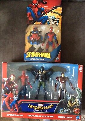 HASBRO SPIDER-MAN ACTION FIGURE LOT (2) HOMECOMING 3 PACK & SCUBA GEAR SPIDERMAN