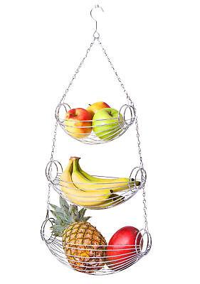 Hängekorb Küchenampel 3 Etagen Obstkorb Gemüseampel Hänge-Etagere Gemüse-Korb