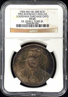 1904 MO HK-308, President Roosevelt Dollar, Louisiana Purchase Expo, NGC PF 65!