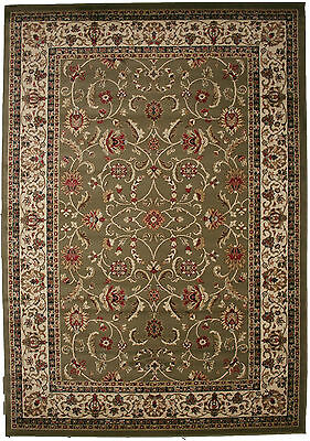 8X10 Area Rug New Persian Border Floral Kashan Sage Green Beige Traditional ()