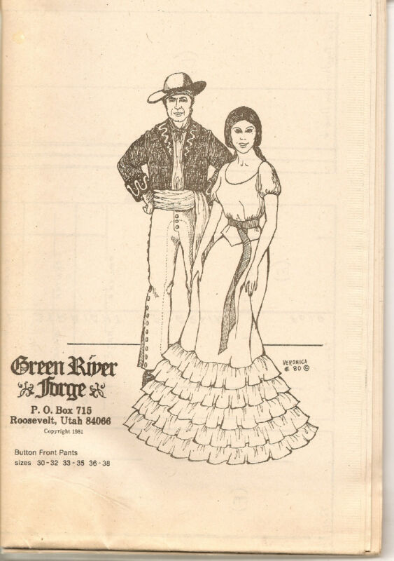 GREEN RIVER FORGE VAQUERO PANT PATTERN OUT OF PRINT