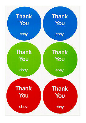 """(100) 3-Color, Round eBay-Branded Thank You Sticker Multi-Pack 3"""" x 3"""""""