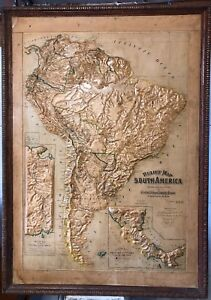 Antique 3d map of Central and South America circa 1899