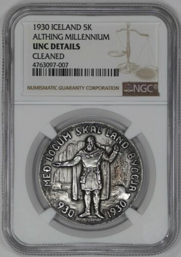 1930 ICELAND 5K ALTHING MILLENNIUM NGC CERTIFIED UNC DETAILS UNCIRCULATED (007)