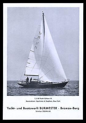 Grosse Werbung 1961 7,5 KR Yacht Colleen VI Boots-Werft Burmester Bremen-Burg