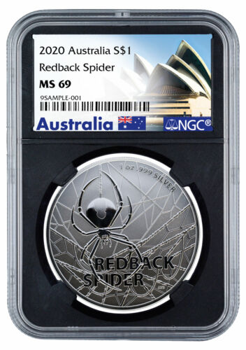 2020 Australia Redback Spider 1 oz Silver $1 NGC MS69 Blk Opera Label SKU59897