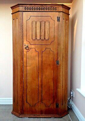 Vintage Oak Single Wardrobe Cloakroom Coat Cupboard Solid Wood