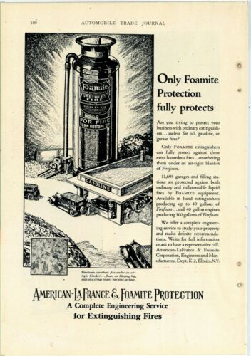 1928 American LaFrance Fire Apparatus Ad: Foamite Fire Extinguishers - Elmira NY