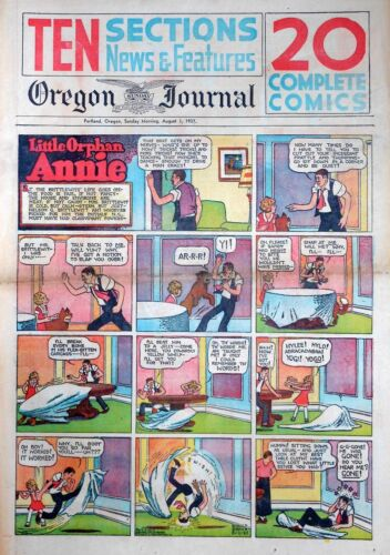 Little Orphan Annie by Gray - large full page color Sunday comic August 1, 1937
