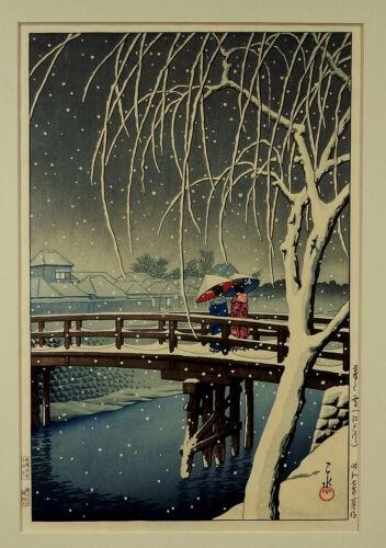 Orig Kawase Hasui Japanese Woodblock EVENING SNOW AT EDO RIVER 1932 Great Colors