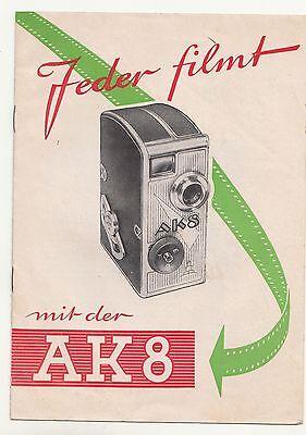 Prospekt Jeder filmt mit der AK 8 Kamera VEB Kinowerke Dresden 1958 DDR