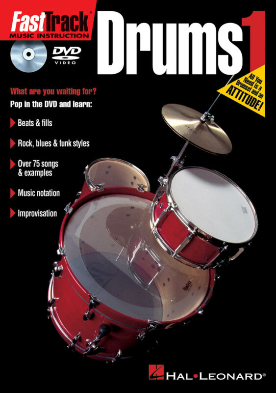 FastTrack Drums Method 1 Beginner Lessons Learn How to Play Hal Leonard DVD