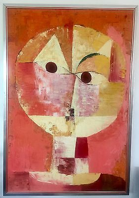 ORIGINAL ABSTRACT CUBISM OIL ON CANVAS PAINTING OF FACE / HEAD FIGURE SIGNED
